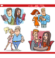 Valentine couples in love cartoon set vector