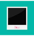 Instant photo with word love in flat design style vector