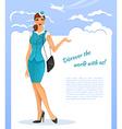 Girl in stewardess uniform vector