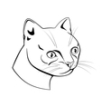 Feline head black and white dash drawing vector