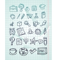 Icon set - hand drawn school doodles vector