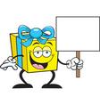 Cartoon gift holding a sign vector