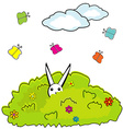 Cartoon bush with hidden bunny vector