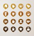 Sticker label coffee set vector