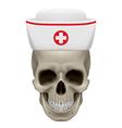 Skull in nurse cap vector