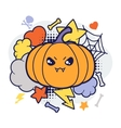 Halloween kawaii print or card with cute doodle vector