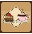 Delicious coffee and cake vector