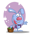 Blue rabbit with easter eggs and basket vector