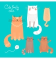 Cute set with cats and kittens vector