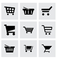 Black shopping cart icons set vector