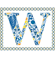 Blue letter w vector