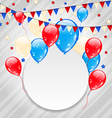 Celebration card with balloons in american flag vector