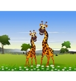 Cute couple giraffe cartoon with landscape backgro vector