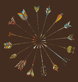 Hand-drawn arrows on brown background vector