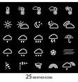 White weather icons with black background set of vector