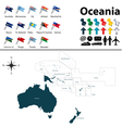 Oceania political map with flags small vector