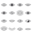 Set of various eye icons on white background vector