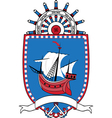 Marine emblem coat of arms sailboat wheel vector