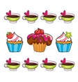 Cupcake set on white background vector
