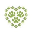 Heart with animals footprints vector