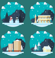 Pack of flat design winter scenes vector