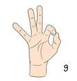 Sign language number 9 vector