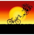 Natural sunset landscape with bicycle silhouette vector
