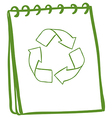A green notebook with the symbols for recycling vector