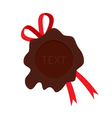 Wax seal with red ribbon template vector