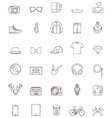 Hipster contour icon set vector