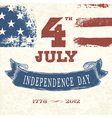 Vintage greeting card 4th july vector