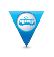 Tram icon map pointer blue vector