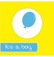 Baby shower card with blue balloon its a boy vector