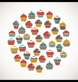 Colorful cupcakes icons vector