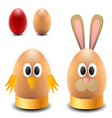 Egg rabbit and chicken for easter vector