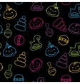 Multicolored seamless pattern with babies faces vector