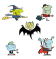 Halloween monsters cartoon characters vector
