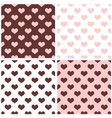 Tile brown pink and white hearts pattern set vector