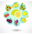 Round card with food icons vector