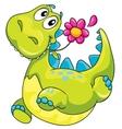 A dinosaur and flower vector