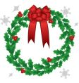 Christmas holly wreath vector