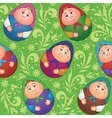 Seamless dolls and floral pattern vector