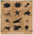 Sea animals silhouettes underwater symbols set vector
