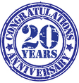 Congratulations 20 years anniversary grunge rubber vector