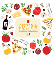 Pizza lettering with cartoon ingredients vector