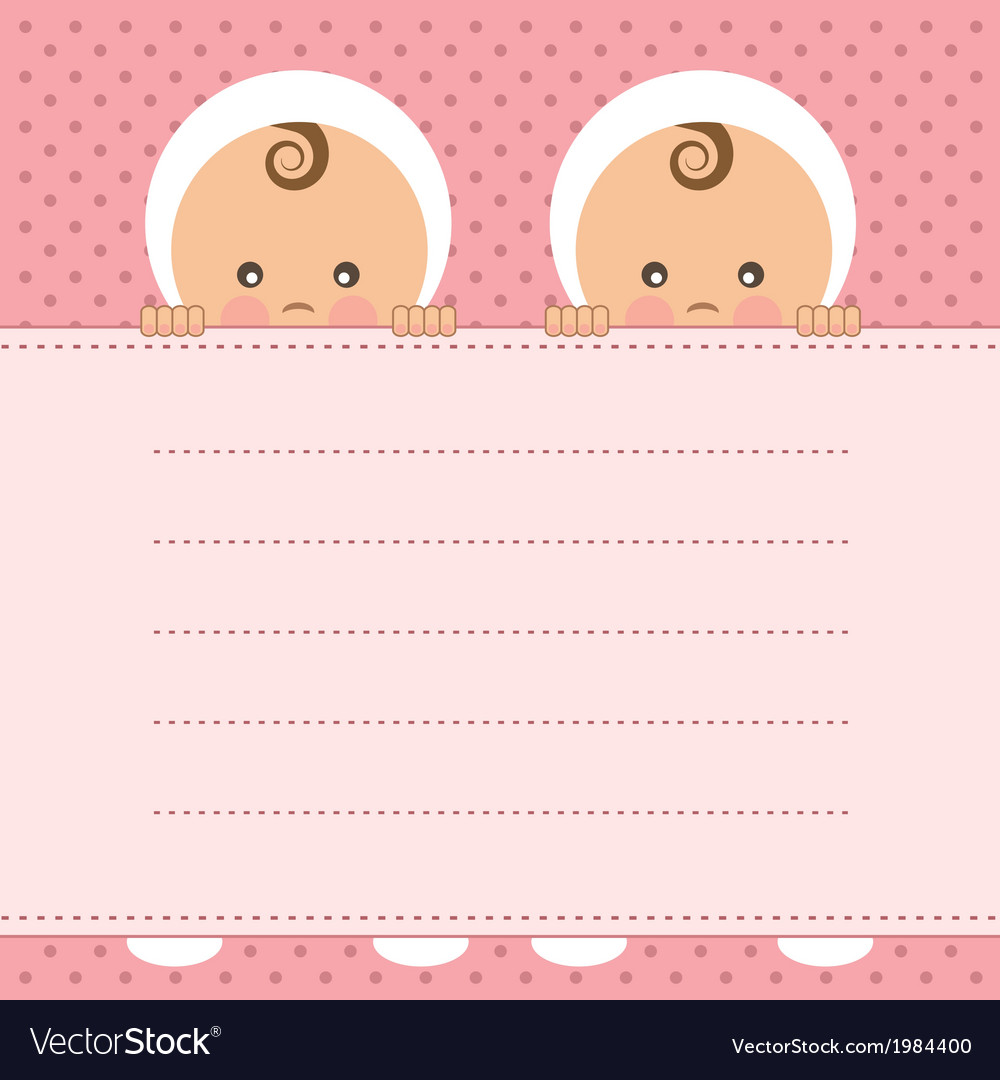 Baby shower twins vector | Price: 1 Credit (USD $1)