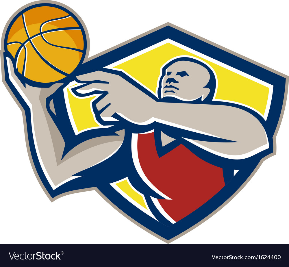 Basketball player laying up ball retro vector | Price: 1 Credit (USD $1)