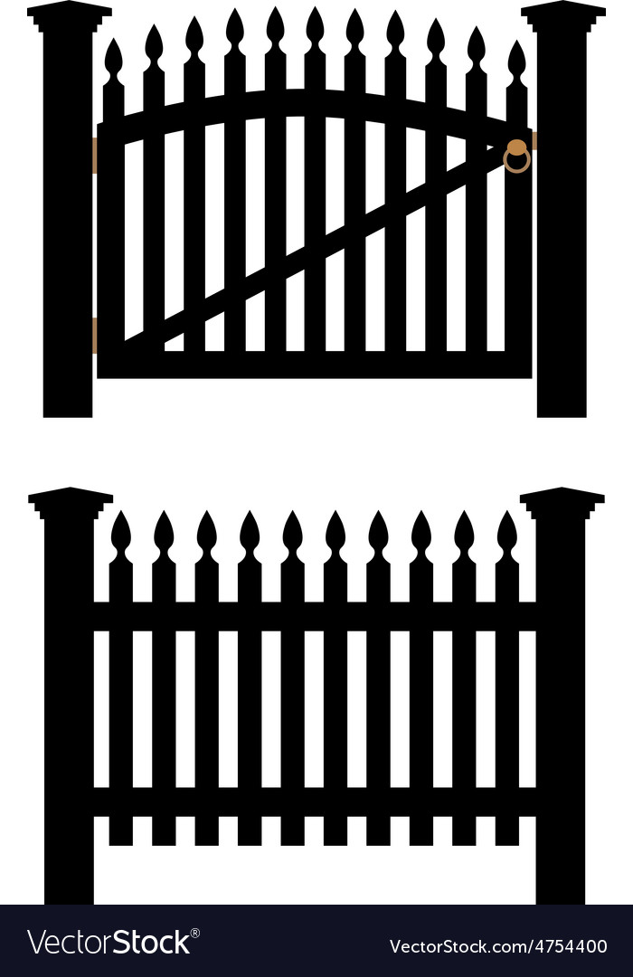 Black fence and gate vector | Price: 1 Credit (USD $1)