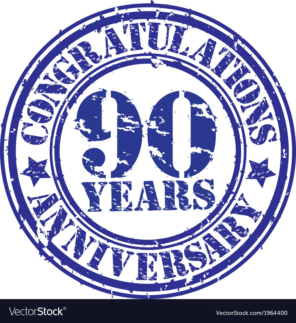 Congratulations 90 years anniversary grunge rubber vector | Price: 1 Credit (USD $1)