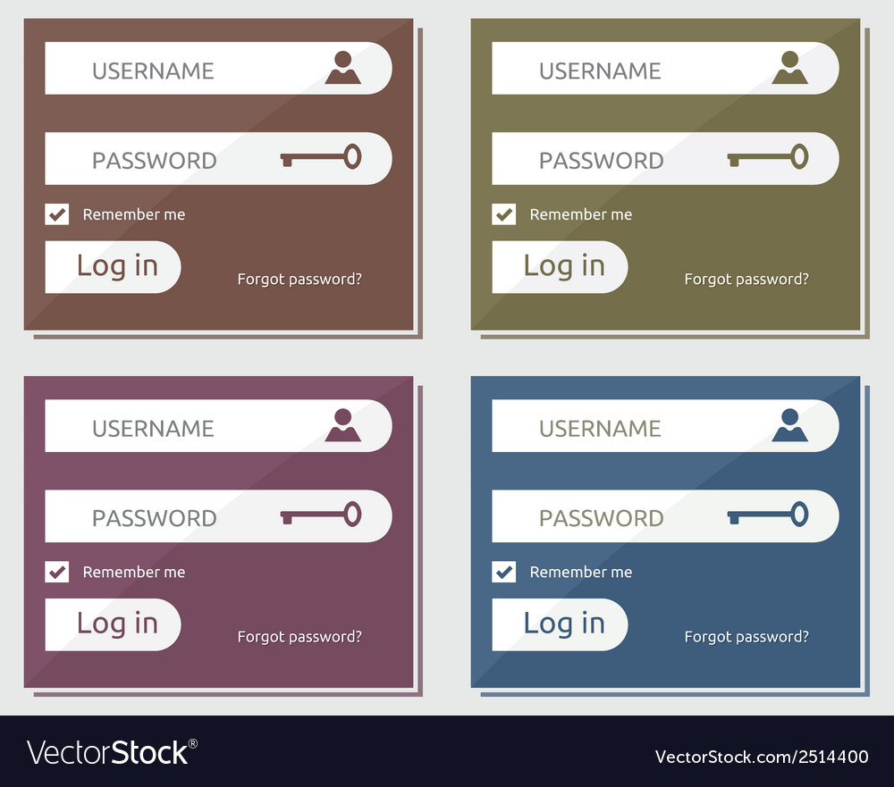 Flat login form1 vector | Price: 1 Credit (USD $1)